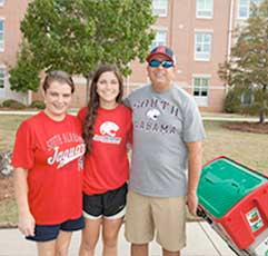 Jaguar Student and Parents on move-in day