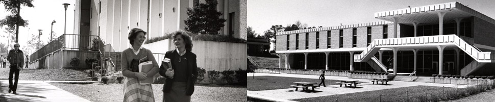Black and white image of students walking on campus and old building image.
